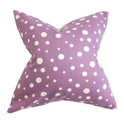The Pillow Collection - Bebe Polka Dots Pillow Purple White - Youthful and quirky, this throw pillow brings a lively vibe to your living space. This accent pillow comes with a pretty purple hue which is decorated with white-hued polka dots. Your sofa, bed or couch will totally look great with this striking square pillow. Made of 100% soft and high-quality cotton fabric. Hidden zipper closure for easy cover removal.  Knife edge finish on all four sides.  Reversible pillow with the same fabric on the back side.  Spot cleaning suggested.