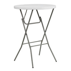 Flash Furniture - Flash Furniture 32'' Round Granite White Plastic Bar Height Folding Table - This Bar Height Folding Table can be used in banquet halls, hotels, or in the home. This table is a great solution for temporary seating for gatherings. Flash Furniture's 32'' Round Folding Table features a durable stain resistant blow molded top and sturdy frame. The blow molded top requires low maintenance and cleans easily. The table's legs lock in place in a SNAP with the leg locking system for easy set-ups.