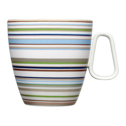 iittala Origo Beige Mug w/Handle - You've found your new go-to morning mug in the iittala Origo Beige Mug. Whether you are enjoying coffee, tea or hot chocolate, the generous basin and handle on this porcelain mug makes it easy to grip and sip your favorite hot beverage. Adorned with the award-winning Origo pattern by Alfredo Haberli, this white mug features beige bands accented by stripes of light blue, dark blue and green. The perfect blend of modern and traditional influences, the iittala Origo Beige Mug will bring bright colors and classic design to your cupboard.
