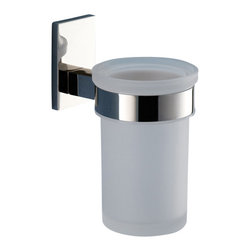 Gedy - Wall Mounted Frosted Glass Toothbrush Holder With Chrome Mounting - Modern style round wall mounted frosted glass toothbrush holder.