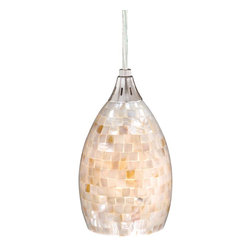 Vaxcel - Vaxcel PD53206SN Milano Mini Pendant Satin Nickel Mosaic Shell Glass - Vaxcel PD53206SN Milano Mini Pendant Satin Nickel Mosaic Shell Glass