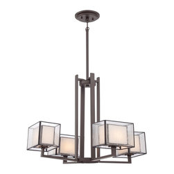 Quoizel - Quoizel FE5004WT Ferndale Chandelier - Trendy and stylish best describes this great collection.  The Tiffany glass is enveloped within another shade of clear seedy glass.  The versatile Western Bronze finish compliments the overall look of this contemporary group.