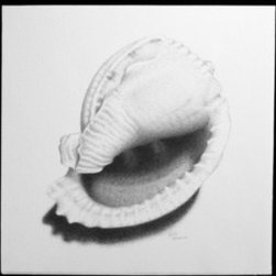 Seashell 5 (Original) by Heidi Fitzpatrick - My husband grew up visiting Delaware beaches every summer with his family. He holds a lot of fond memories of him and brother as kids. When drawing each sea shell in this collection, I paid a lot of attention to detail, as if I were still listening to my husbands' childhood stories and bringing them to life.