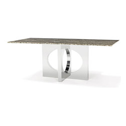 Zuri Furniture - Marble Polished Stainless Steel Barolo Dining Table - Graceful earth tones with subtle hints of silver flashes make our Barolo Dining Table a feast for everyone's eyes. A handsome and durable chrome finished pedestal supports this unique tabletop, ensuring that all of your guests will always have more than enough leg room. Easy to clean and sealed to minimize staining, the Barolo is a perfect choice; get one today and turn your dining room into a masterpiece.