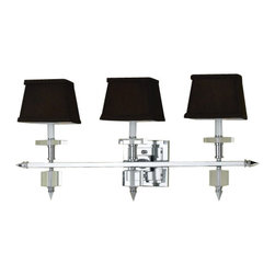 AF Lighting - AF Lighting Candice Olson Cluny 3-Light Vanity-Chocolate Shades - Crystal and Chrome with Chocolate Poly Silk Shades  Overall dimensions are 14 in. H x 28 in. W x 9 in. Ext.