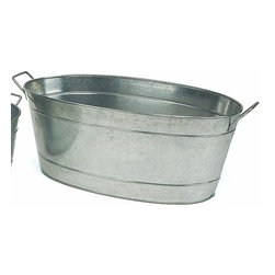 Achla - Oversized Galvanized Steel Planter Tub - This Oversized Galvanized Steel Planter Tub is extremely versatile and you'll find many uses for it around your garden.  Use it as a planter, for carrying water or garden tools, you name it.  Durable galvanized steel construction ensures lasting durability.  An extra-large, multipurpose steel planter, this galvanized tub is incredibly adaptable when it comes to yard décor.  Two handles make it an easy accessory to tote around. * This Oversized Galvanized Steel Planter Tub is extremely versatile and you'll find many uses for it around your garden. Use it as a planter, for carrying water or garden tools, you name it. Durable galvanized steel construction ensures lasting durability. 30.5 in. L x 15 in. W x 9.5 in. H