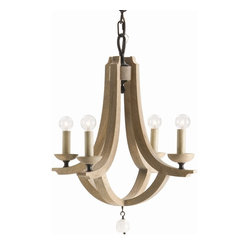 Arteriors - Manning Small Chandelier, 6 Light - Whether you're going for a Scandinavian, coastal or modern vibe, the swooping, pale wood arms of this light fixture will show your room off in its best light. While the top looks minimalist and spare, the curved bottom and dangling crystal orb are reminiscent of more traditional chandelier shapes.