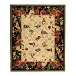 """Safavieh - Chelsea Rug, Ivory/Black, 2' 6"""" x 12' - 100% pure virgin wool pile, hand-hooked to a durable cotton backing. American Country and turn-of-the-century European designs. Th'scollection is handmade in China exclusively for Safavieh."""