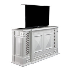 """Carlyle TV lift furniture, US Made TV lift furniture by Cabinet Tronix - TV Lift furniture Cabinet,  Carlyle by """"Best of Houzz 2014"""" for service, Cabinet Tronix in white Satin is also available in 16 other designer finishes."""