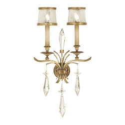 Fine Art Lamps - Monte Carlo Sconce, 567950ST - Give swirls a whirl in your favorite formal setting. Here, a pair of handblown swirled glass shades in gilded frames look elegant atop candlesticks and brilliant crystal accents.