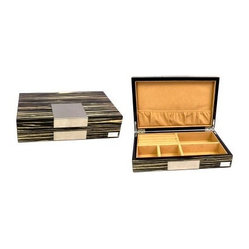 High Gloss Lacquered Valet Box - Zebra Wood Finish - 9.75W x 2.5H in.