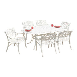 Home Styles - Home Styles Biscayne 7PC 72��_��_��_ Oval Dining Table Set - Home Styles - Patio Dining Sets - 5552338 - Biscayne 7PC Dining Set includes the Oval table and Six Arm Chairs. Home Styles cast aluminum outdoor dining collection gives you the beauty of ornately designed pieces without the high cost.  Constructed of cast aluminum in a UV resistant powder coated White Finish. The Oval Dining Table features a White Finish with a top that is designed specifically to prevent damage caused from pooling by allowing water to pass through freely.  Adjustable nylon glides prevent damage to surfaces caused by movement and provide stability on uneven surfaces. Size:  42w 72d 30h. Home Styles Arm Chair is constructed of cast aluminum with a White Finish. Features include powder coat finish sealed with a clear coat to protect finish and nylon glides on all legs. Chairs are packed two per carton.. Stainless steel hardware.