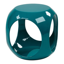 Avenue Six - Avenue Six Slick Cube Occasional Table, Blue - -High gloss, molded table with internal storage area for magazines, books and more