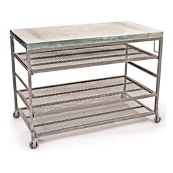 Bakers Console - This portable bakers console comes from the French country furniture collection. It is movable and can easily be taken from one place to another in the mill. Made by galvanized steel and hand finished, it has rack on three levels and a flat top to keep storage items.