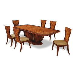 Global Furniture - Global Furniture USA D52-DT 7 Piece Rectangular Dining Room Set in Kokuten - This high gloss shine dining table boasts a parquet-style tabletop and pedestal base with light and dark visual finish.