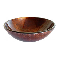 "Eden Bath - Red Copper Reflections Glass Vessel Sink - Material: Double Layer Tempered Glass; Color: Red Copper; Dimensions: 16.5"" Diameter X 5.7""H; Thickness: 0.75""; Drain Hole: 1.75"" - No Overflow; Weight: 15 lbs; Installation: Top Mount; Not Included: Mounting Ring, Pop Up Drain & Faucet."