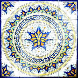Arts Exotiques - Hand-painted Mosaic Ceramic Tiles (Set of 16) - Mosaic tiles are handmade and hand-painted in the Mediterranean country of TunisiaCeramic tiles are individually fired and have a world class handmade finishEach mosaic is beautifully handcrafted so no two are exactly alike