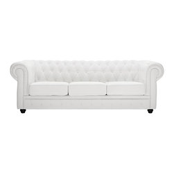 Modway Furniture - Modway Chesterfield Sofa in White - Sofa in White belongs to Chesterfield Collection by Modway There is something very recognizable about the Chesterfield Armchair. While fashioned with a tufted back, and large rounded arms, the most distinctive aspect is arguably the deep buttons. Their careful positioning throughout helps portray both an aristocratic and settled feel at the same time. First named in 1900 after the Earl of Chesterfield who commissioned it, recognize the ability to join individual elements as you completely inspire your room. Set Includes: One - Chesterfield Sofa in Leather & Leather Match Sofa (1)