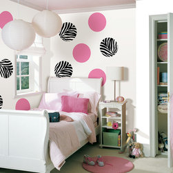 "Go Wild and Flirt Pink Dots Set of Wall Decals - Create a fun zebra print look in a girls room with this WallPops kit. This pack contains eight 13"" Go Wild Zebra Dots and eight 13"" Flirt Pink Dots. WallPops are repositionable and always removable."