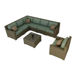 Forever Patio - Hampton 8 Piece Modern Outdoor Sectional Set, Heather Wicker and Spa Cushions - The Forever Patio Hampton 8 Piece Patio Wicker Sectional Set with Turquoise Sunbrella cushions (SKU FP-HAM-8SEC-CH-SP) is sure to be the center of your next outdoor get-together. The set seats 6 to 7 adults comfortably, and features Heather resin wicker, which is made from High-Density Polyethylene (HDPE) for outdoor use. Each strand of this outdoor wicker is infused with natural color and UV-inhibitors that prevent cracking, chipping and fading ordinarily caused by sunlight, surpassing the quality of natural rattan. Each piece features thick-gauged, powder-coated aluminum frames that make the set extremely durable. Also included with the set are fade- and mildew-resistant Sunbrella cushions. The comfort and quality of this outdoor sectional set will make you feel like your living room has moved outdoors.