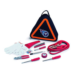 "Picnic Time - Tennessee Titans Roadside Emergency Kit in Black - The Roadside Emergency Kit by Picnic Time will give you peace of mind knowing that you're prepared when an unexpected auto emergency arises. The kit features a triangular-shaped tote with carry handle that doubles as a reflective hazard warning sign and contains essential tools for roadside emergency repair, including: 1 set of jumper cables (8.2-ft long, 15-gauge copper with laminated instructions tag affixed to the cables), 1 heavy-duty plastic ice scraper, 1 tire-pressure gauge, 1 9-piece ratchet set (socket sizes ranging from 3/16"" to 1/2"") with rigid hand driver, 1 pair of standard slip-joint pliers, 1 flathead screwdriver (7-1/4""), 1 Phillips screwdriver (7-1/4""), 1 roll of red electrical tape, blade-style automotive fuses: (1) 10 amp, (2) 15 amp, and (1) 20 amp, 1 pair of white work gloves (woven heavy-duty cotton blend), and insulated ring and spade terminals (3 of each). Makes a great gift for any car owner.; Decoration: Digital Print; Includes: 1 set of jumper cables (8.2-ft long, 15-gauge copper with laminated instructions tag affixed to the cables), 1 heavy-duty plastic ice scraper, 1 tire-pressure gauge, 1 9-piece ratchet set (socket sizes ranging from 3/16"" to 1/2"") with rigid hand driver, 1 pair of standard slip-joint pliers, 1 flathead screwdriver (7-1/4""), 1 Phillips screwdriver (7-1/4""), 1 roll of red electrical tape, blade-style automotive fuses: (1) 10 amp, (2) 15 amp, and (1) 20 amp, 1 pair of white work gloves (woven heavy-duty cotton blend), and insulated ring and spade terminals (3 of each)"