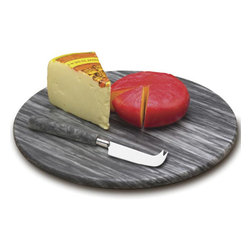 Marble Cheese Board Set - Matte finished in grey marble, this Marble Cheese Board Set is ideal to serve and display your fine cheeses and appetizers. The elegant cheese cutting board includes a stainless steel cheese knife with matching grey marble handle. This Marble Cheese Board Set is the perfect kitchen tool to provide time-saving preparation of cheese and other finger foods.