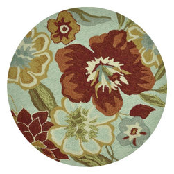 Loloi - Country & Floral Summerton Round 3' Round Mist-Red Area Rug - The Summerton area rug Collection offers an affordable assortment of Country & Floral stylings. Summerton features a blend of natural Mist-Red color. Hand Hooked of 100% Polyester the Summerton Collection is an intriguing compliment to any decor.