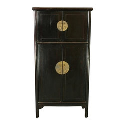 EuroLux Home - Consigned Antique Chinese Black Armoire Storage - Product Details
