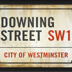 """The Artwork Factory - """"Downing Street"""" Print - Add a little stiff upper lip to your kingdom, whether you feel united or not. This high quality print takes its cues from street signs around the legendary London residence of the British Prime Minister. It comes framed and ready to hang."""
