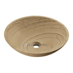 PolarisSinks - Polaris P258 Wood Sandstone Vessel Sink - Our stone sinks are available in a variety of colors to fit any decor. Our line of stone sinks are very durable and add natural beauty to your bathroom. The sinks are carved from natural stone blocks and polished by hand. This process gives the sink a smooth easy to clean finish. The stone will not absorb odor or stains which makes the sink extremely low maintenance and more sanitary than other sink materials. Our stone sinks are covered by a limited lifetime warranty.