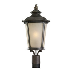 Seagull - Seagull Cape May Outdoor Post/Pier in Burled Iron - Shown in picture: 82240-780 Single Light Outdoor Post Lantern in Burled Iron finish with Etched Hammered with Light Amber�Glass