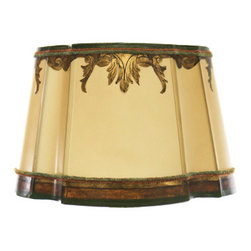 Dilusso Antique Custom Lamps - Custom Round Shade w/ Cut Corners, Large - This Round Custom shade with cut corners is designed with antiqued silver leaf. With custom colors and decorative custom colored trims.