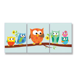 Stupell Industries - Owls on Branch Set of 3 Rectangle Wall Plaques - Treat your home to some style with one this decorative wooden wall plaques.    It is produced on sturdy half-inch thick MDF wood, and comes with a saw tooth hanger on the back for instant use.  The sides are hand finished and painted so a perfect crisp look.  MADE IN USA.