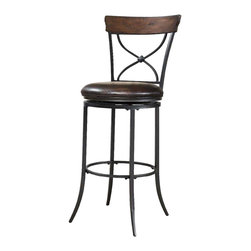 Hillsdale Furniture - Hillsdale Cameron Swivel X-Back Bar Stool in Chestnut Brown - The Cameron X-Back swivel stool combines a warm chestnut brown finished wood top accent with a transitional metal X in the center of the back and a brown faux leather seat. Appealing alone or combined with the Cameron dining collection.