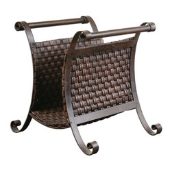 Grace Feyock - Grace Feyock Brunella Magazine Holder X-34591 - Stand is made of hand forged metal with woven straps of faux leather finished in dark mocha brown.
