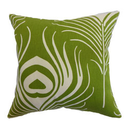 """The Pillow Collection - Lamassa Peacock Pillow Green 18"""" x 18"""" - This throw pillow will surely be the highlight of your home with its impeccable style. This accent pillow portrays the alluring beauty of a peacock. The decor pillow features a bold green hue and natural colored peacock print pattern. Bring a modern vibe to your home by using this as an accent piece in your living room, kitchen or bedroom. This down-filled 18"""" pillow is made from 100% soft cotton material. Hidden zipper closure for easy cover removal.  Knife edge finish on all four sides.  Reversible pillow with the same fabric on the back side.  Spot cleaning suggested."""