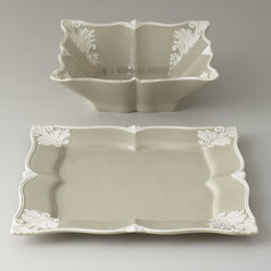 "Horchow - Square ""Baroque"" Serving Platter & Bowl - Add an unexpected element to serving with this elegant serving bowl featuring an ornate Baroque design rendered in ivory against a taupe background and a unique square shape. Handcrafted of earthenware. Hand painted. Dishwasher and microwave safe. A..."