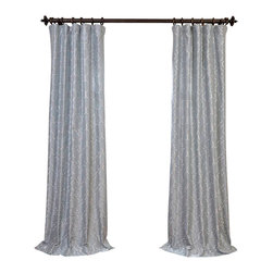 """Exclusive Fabrics & Furnishings - Algeirs Silver Embroidered Faux Silk Curtain - SOLD PER PANEL . 51% Polyester 49% Nylon   Lined . 3"""" Pole Pocket with Hook Belt . Base Fabric- Silver  Pattern- Silver .Weighted Hem   Dry Clean Only ."""