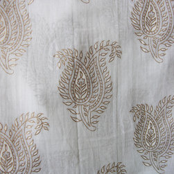 Curtain - This beautiful lightweight, semi translucent curtain, has been hand block printed with white and gold pigment, giving a subtle design element when held to the light. Perfect for filtering bright daylight or providing added privacy. Each curtain has hand ties at the top for easy installation on any curtain rod. Can be used as a single panel or as a pair.