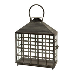 iMax - iMax Drake Wide Candle Lantern X-52365 - This IMAX Drake wide candle lantern has an undeniably oriental style. Notice the wrought iron  frame's straight lines that create small, square windows against the glass panels. It's a piece that holds two pillar candles, so it's sure to provide you with ample light while enhancing the look and feel of your outdoor space.