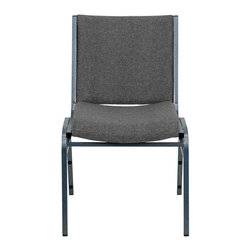 Flash Furniture - Flash Furniture Hercules Series Upholstered Stack Chair in Gray - Flash Furniture - Stacking Chairs - XU60153GYGG - This functional stack chair can be used in a multitude of environments from small to large. The versatility of the chair makes it appropriate to use in the Church Offices and Training Rooms or in the Classroom or Home. The thick padded seat and back will keep users comfortable throughout the duration of the day. Not only is this chair comfortable but it is very durable with its heavy duty frame with bumper guards that will prevent the finish on the frame from being scratched when stacked. So when in need of temporary or permanent seating this multi-purpose stack chair is sure to meet the needs for any venue. [XU-60153-GY-GG]