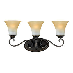 """Quoizel - Quoizel DH8603PN Duchess Traditional Bathroom / Vanity Light - Indulge in classic European elegance for your home with this refined design fit for royalty. The hand-forged iron is twisted into graceful """"S"""" curves, while the trumpeted shades celebrate the beauty of light with their warm gradation of color."""