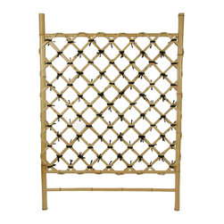 None - Zen Garden Bamboo Fence Door (China) - This simple hand crafted bamboo accessory is best used either in indoor garden areas or outdoor areas sheltered from the elements. This fence is hand crafted from high quality, whole bamboo poles and split bamboo.