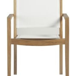 Regatta Mesh Dining Chair - This outdoor dining chair combines classic wood construction with durable mesh for cool comfortable outdoor seating. The white seating with the wood finish is natural but clean and modern.