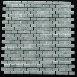 "Mini Brick Ming Green Marble Polished Mosaic Tiles - 1 in. x .5 in. Mini Brick Gorgeous Ming Green Marble Polished Mosaic tiles on a 12"" x 12"" mesh. The size of the small pieces is 1 in. x 2 in. Each tile is approximately one square foot. The price is per sheet."