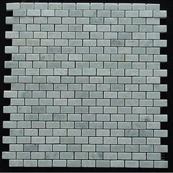 """Mini Brick Ming Green Marble Polished Mosaic Tiles - 1 in. x .5 in. Mini Brick Gorgeous Ming Green Marble Polished Mosaic tiles on a 12"""" x 12"""" mesh. The size of the small pieces is 1 in. x 2 in. Each tile is approximately one square foot. The price is per sheet."""