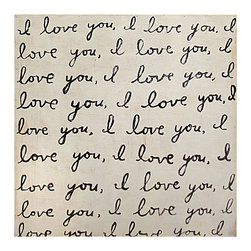 Kathy Kuo Home - Darling I Love You' Reclaimed Wood Art Print Wall Art - Bottom - Here's a darling wall hanging that shows your love of family, art and home. Created in Georgia, this handwritten note is printed then framed with reclaimed wood for a one-of-a-kind statement. You can choose one or get two corresponding top and bottom pieces — just in case your message isn't quite clear enough with one.