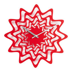 Progetti - Flux 2090 Red Wall Clock - Wall clock in painted steel. Battery quartz movement.