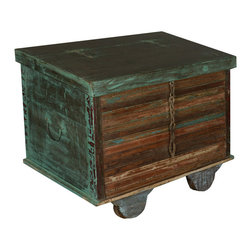 Sierra Living Concepts - Industrial Green Reclaimed Wood End Table Chest - Our Rolling Foot Locker Chest is two ways Green. This multi-use storage mini trunk is built with reclaimed hardwood from Gujarat.
