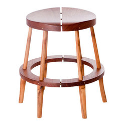 "El Dot Designs - Rhino Stool - The Rhino Stool is the shorter version of our Perch Stool. At 16"" height,  it serves as a perfect seat for kids or as an extra seat to have around. The hand shaped Rosewood seat is comfortable and warm while the split bamboo legs are a testament to the strength of Bamboo."
